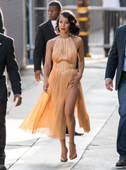 Jada Pinkett Smith ravished in a high-slit gold halter dress by  Maria Lucia Hohan while visiting 'Jimmy Kimmel Live!'