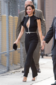 Jenna Dewan-Tatum bared some cleavage in a black keyhole-cutout jumpsuit by Monique Lhuillier while leaving 'Kimmel.'