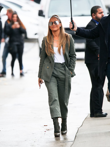 Jennifer Lopez headed to 'Kimmel' looking tomboy-chic in a loose army-green pantsuit.