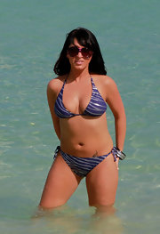 Angelina Pivarnick showed off her body in a striped purple halter bikini.