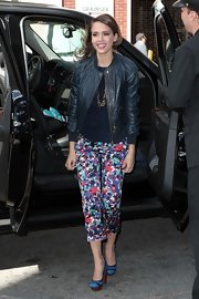 Jessica Alba was dressed for spring in these floral capris.