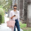 Jessica Alba's Pink Bag and Blue Jeans