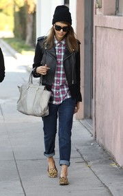Jessica Alba took a stroll in Beverly Hills wearing comfy yet chic animal-print smoking slippers by Balenciaga.