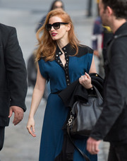 Jessica Chastain hid her eyes behind a pair of square shades while making her way to 'Kimmel'.