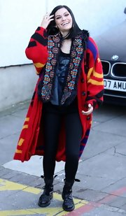 Jessie J looked more like 'Joseph and the Amazing Technicolor Dreamcoat' in a large red duster.