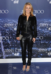 Hayden showed up to the Jimmy Choo H&M launch in a pair of slithering leather pants and a sequin jacket. She topped her look off with a zebra zip-around clutch.