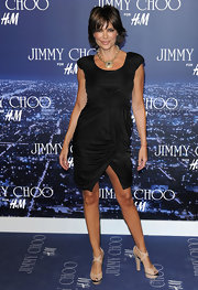 Paired with her LBD, Lisa Rinna's mile-high beige platform sandals with black detail were the perfect choice for an event at H&M.
