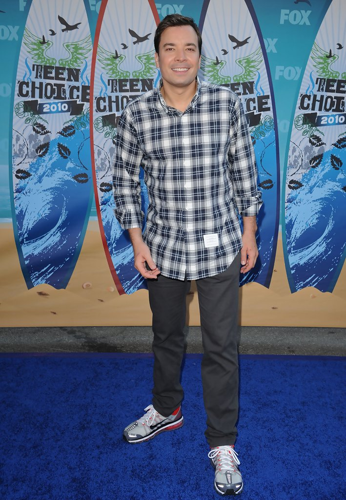 f969181946a Jimmy Fallon · Jimmy loves to wear plaid! Here he dons a plaid button-up  with sneakers. Button Down Shirt