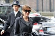 Angelina Jolie arrives at Meurice Hotel to attend a photocall to promote