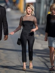 Julianne Hough looked uber stylish in a black mesh-panel jumpsuit by Monique Lhuillier during her appearance on 'Jimmy Kimmel Live.'