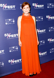 Julianne Moore went boho in a sleeveless orange maxi dress by Chloe for the New York screening of 'After the Wedding.'