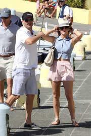 Julianna Hough was cool and casual in pale pink shorts paired with chic flat sandals.