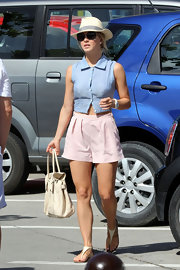 Julianne Hough matched her pastel ensemble with a nude leather tote.