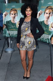 Tracee Ellis Ross showed off her cool style with this lightning-print romper at the LA screening of 'Just Before I Go.'
