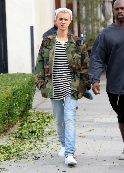 More Pics of Justin Bieber Military Jacket (1 of 11) - Outerwear Lookbook - StyleBistro []