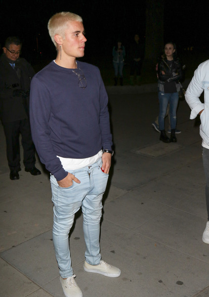 Justin Bieber stayed casual in a navy sweatshirt while out in Beverly Hills.