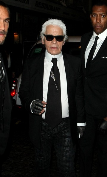 Karl Lagerfeld Spotted in London
