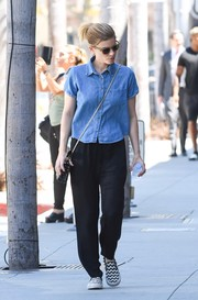 Kate Mara went on a casual day out wearing a denim shirt and slouchy pants.