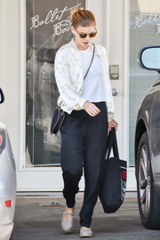 Kate Mara completed her comfy outfit with a pair of studded gray espadrilles.
