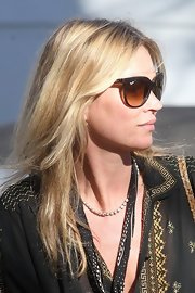 Kate Moss wore her hair causally tousled while out in London.