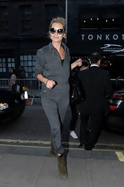 Kate Moss rocked a charcoal gray jumpsuit while out in SoHo.