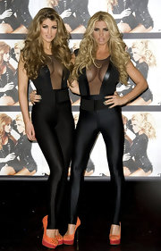 Katie Price is never the fashion wallflower. The model stepped out in a revealing spandex bodysuit.