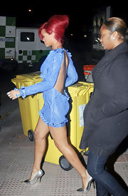 Rihanna perfectly paired her cobalt Spring 2011 Emilio Pucci dress with silver pointy toe pumps.