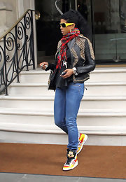 Kelis finished off her eclectic look with high top Micky Mouse sneakers.