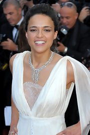 Michelle Rodriguez completed her diva-esque ensemble with a gorgeous diamond chandelier necklace when she attended the Cannes premiere of 'Killing Them Softly.'