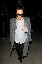 Kim Kardashian must have taken style notes from Kanye when she wore this mannish Gap button-down.