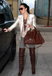 Kim Kardashian ran errands in slouchy chocolate over-the-knee Fairfax boots. The boots perfectly matched her cognac Chloe bag.