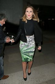 Kimberley Walsh brightened up her outfit with a stylish leaf-print pencil skirt during a visit to ITV Studios.