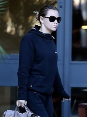 Kimberley Walsh visited the London Studios looking deglammed in a dark blue hoodie.