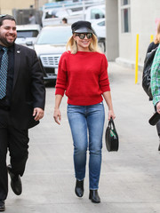Kristen Bell was casual-chic in a red boatneck sweater while headed to 'Kimmel.'