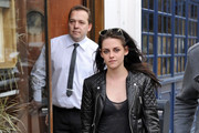 Kristen Stewart stops to eat lunch at Le Duc after attending the Balenciaga 2012-2013 Fall-Winter fashion show.