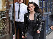 Kristen Stewart toughened her street style with a quilted leather jacket.