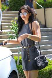 Kylie Jenner complemented her outfit with a Givenchy Mini Pandora, in gray.