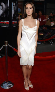 Maggie Q finished off her look with a pair of embellished white peep-toes.