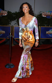 Sofia Milos wore a fun print dress to the Los Angeles premiere of 'Bruce Almighty.'