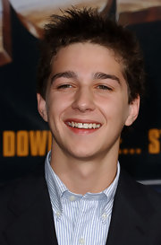 Shia LaBeouf's spiked hairstyle was a zany finish to his look at the 'Holes' premiere.