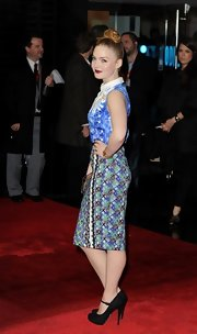 Holliday Grainger finished her stylish look with a pair of strapped platform pumps.