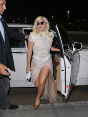 Lady Gaga kept it fab all the way down to her gold Charlotte Olympia platform peep-toes.