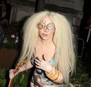 Lady Gaga accessorized with layers of wooden bangles by Assaad Awad.