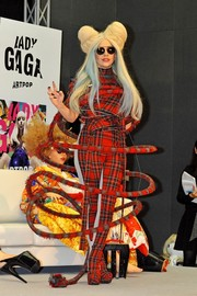 Lady Gaga worked a loud plaid jumpsuit by Alice Auaa at the 'ARTPOP' press conference in Tokyo.