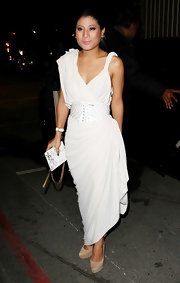 Princess Sirivannavari Nariratana wore this draped white number to the Lanvin fashion show in Paris.