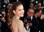 Victoria's Secret model Barbara Palvin wore her hair in a formal ponytail for the Lawless Premiere.