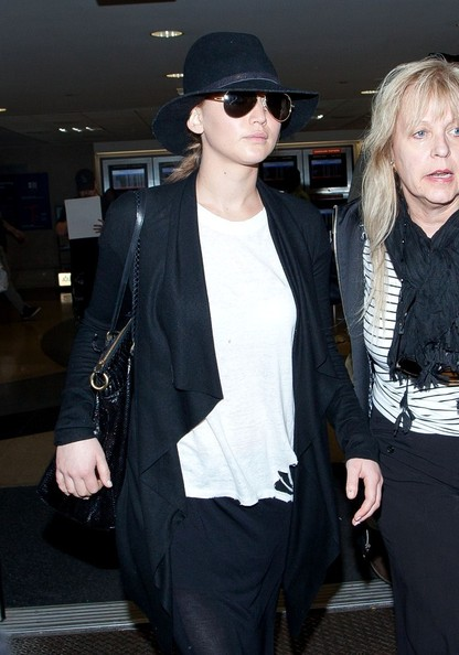 Jennifer Lawrence in chic black and white.