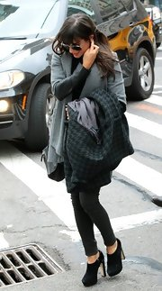 Lea Michele sported a trendy wool coat while out and about in NYC.