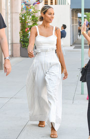 Leona Lewis kept it breezy in a fitted white cami while out for a stroll.