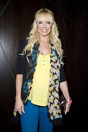Liz Mcclarnon dressed up her casual outfit at the 'Let It Be' press night with a floral scarf.